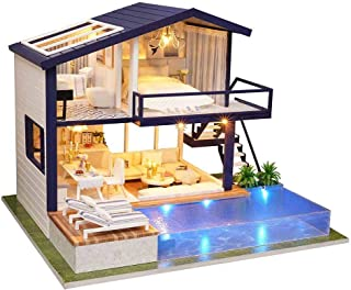 DIY Dollhouse Wooden Dollhouse Kit, Dollhouse Sweet House, with Furniture and Home Accessories, LED Light and Music, The B...
