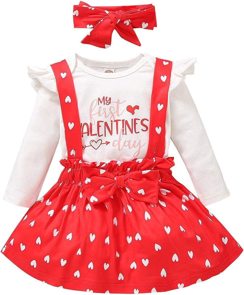 Newborn Baby Girl Valentine's Day Outfit Letter Print Bodysuit+Dot Heart Suspender Strap Skirts Headband Set