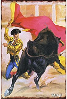 YOMIA Retro Vintage Tin Signs Painted Poster Metal Signs Wall Art Metal Poster Plaque Office Hobby Shop Pub Collector Spanish Bullfighting