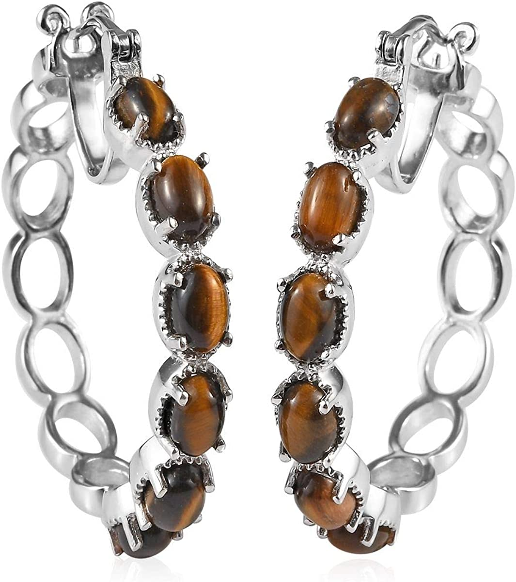 Shop LC Karis Platinum Tigers Eye Hoop Hoops Earrings for Women Fashion Jewelry Gifts Unique Gifts for Women