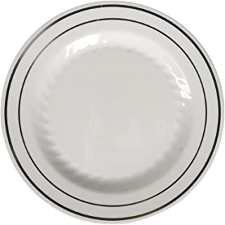"""Fineline Settings Silver Splendor White With Silver Round China-Like 6"""" Plate  150 Pieces"""