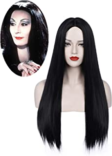 Juziviee Black Wigs for Morticia Addams Costume Long Cute Natural Hair Wigs for Women Synthetic Wigs for Party Halloween w...