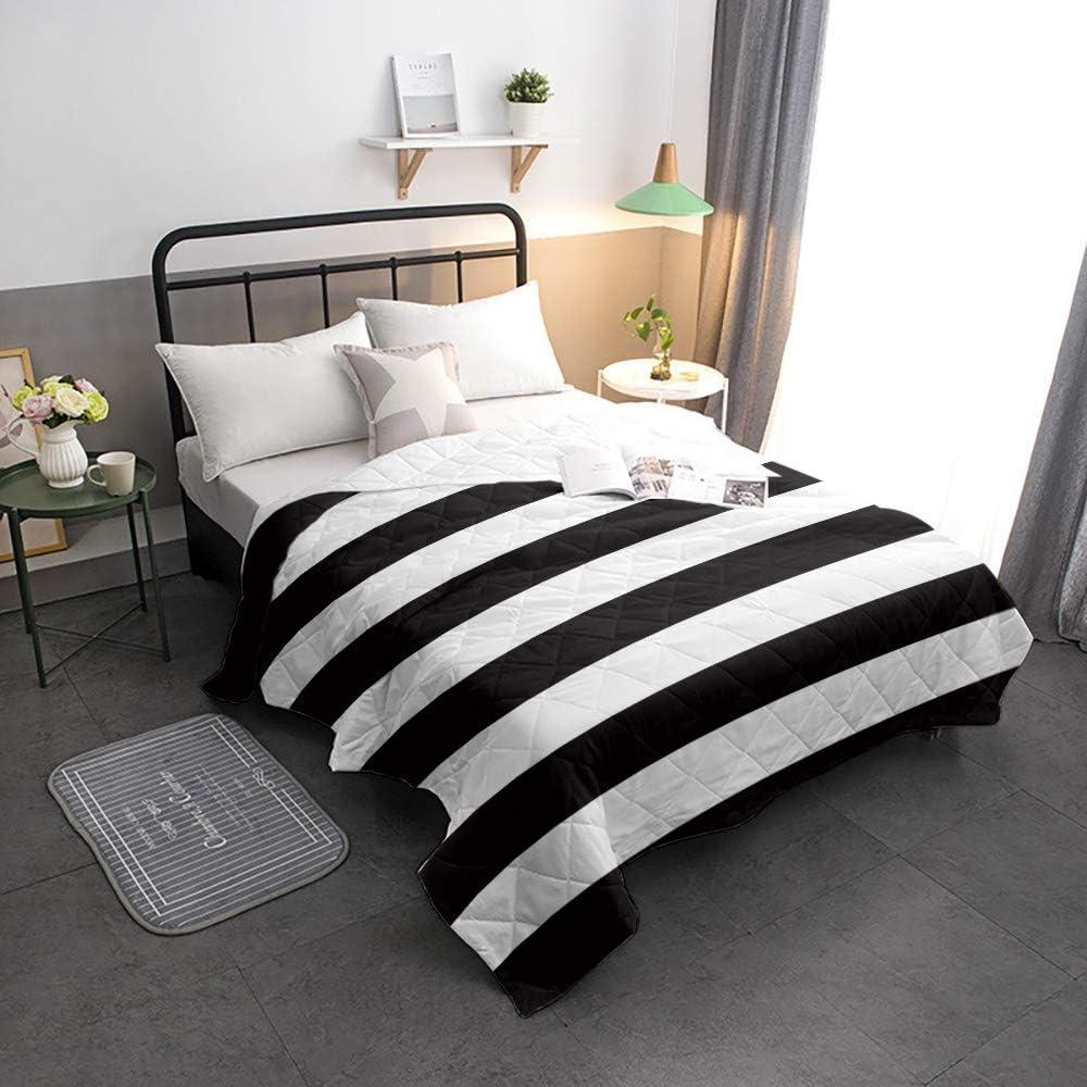 Black San Jose Mall and San Jose Mall White Stripes Reversible Comforter Qu Alternative Down