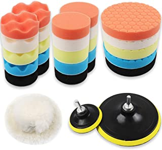 Coceca 3 Inches and 6 Inches Drill Polishing Pad, Buffing Pads kit 30pcs Including 25 Sponge Pads and 3 Woolen Buffer with 2 Drill Adapter