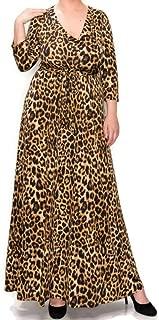 Janette Fashion Leopard Faux Wrap Maxi Plussize Dress