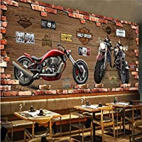 Iusasdz カスタム任意のサイズの3D壁画壁紙レトロなオートバイノスタルジックなレンガの壁フレスコ画レストランカフェKtvバー背景壁装材-400X280Cm