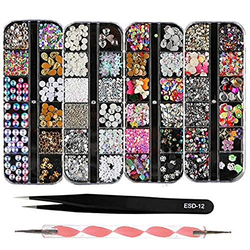 GRAEAR 4 Boxes 12 Grids Nail Art Rhinestones + 1 PC Dotting Pen + 1 PC Straight Tweezer Tool Kits 3D Beads Diamonds Resin Stone Crystal Flat Bottom Gold Metal Studs