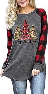 Merry Christmas Shirt Long Sleeve Raglan T-Shirt Women Plaid Splicing Casual Pullover Tops Blouse Plus Size