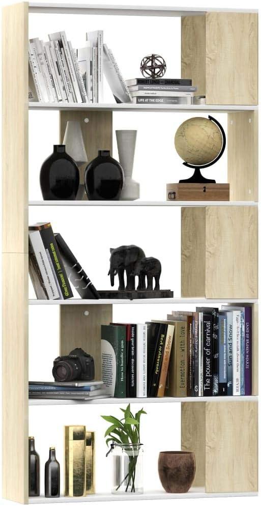 Festnight Bookshelf Book Cabinet//Room Divider Display Shelf for Office Livingroom White and Sonoma Oak 80x24x159 cm