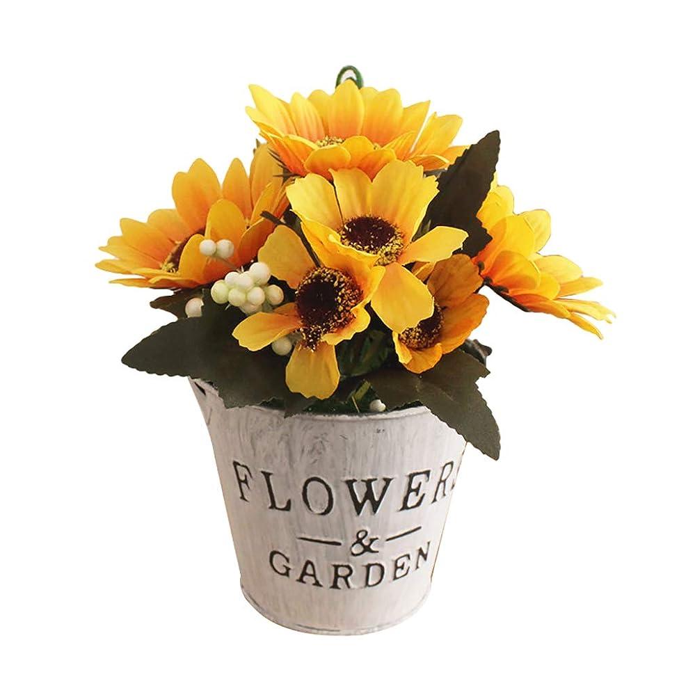 めんどりアクセント腕ruisuered装飾植物結婚式人工観葉植物人工的な太陽の花の偽物の植物盆栽レストランホテルホームショップカフェの装飾 - 黄色