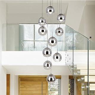 Lámpara de escalera moderna 10 bolas de cristal personalidad creativa lámpara de sala de estar minimalista larga luz colgante, 40 * 200 cm (Color : La Plata)
