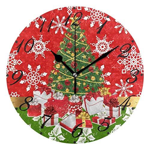 Jacque Dusk Reloj de Pared Moderno,Feliz Navidad árbol Copo de Nieve Rojo Poinsettia,Grandes Decorativos Silencioso Reloj de Cuarzo de Redondo No-Ticking para Sala de Estar,25cm diámetro
