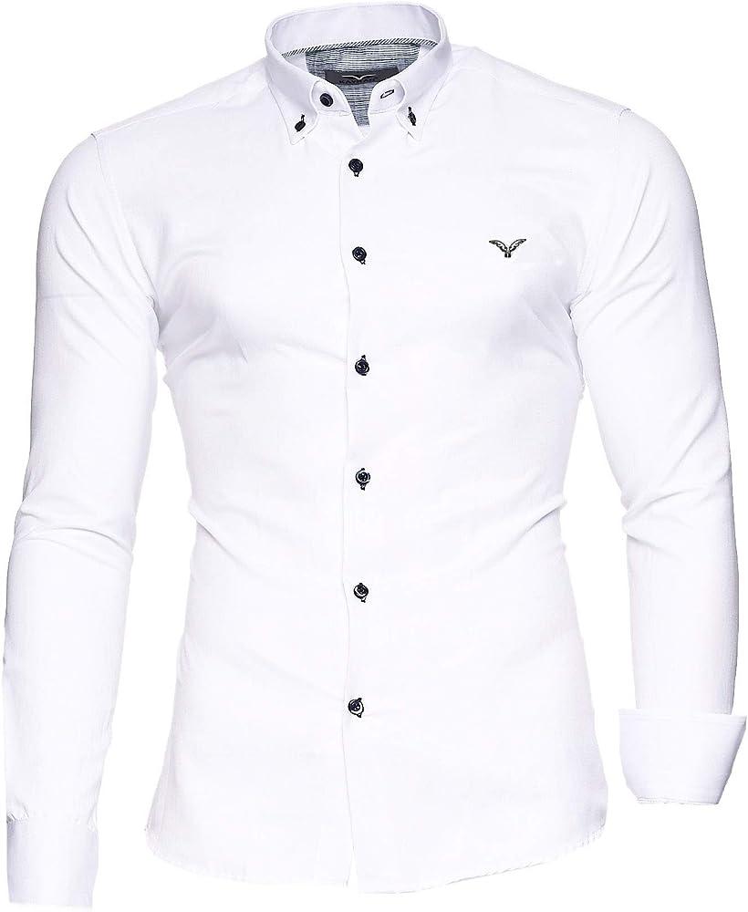 kayhan originale  camicia slim fit maniche lunghe per uomo , 80% cotone, 20% poliestere a-oxford-0016