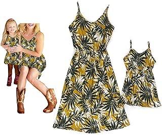 Áo quần dành cho bé gái – Mommy and Me Leaf Print Sleeveless Vintage Dresses Family Matching Spaghetti Straps Party Beach Maxi Cami Dress