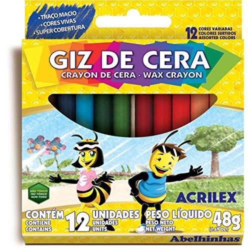 Giz De Cera 12 Cores, Acrilex, 090120000, Multicor