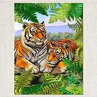 500個の木製 教育的 のパズルの装飾のおもちゃー -ジャングルの中の虎(6歳以上が適しています)(52x38cm)