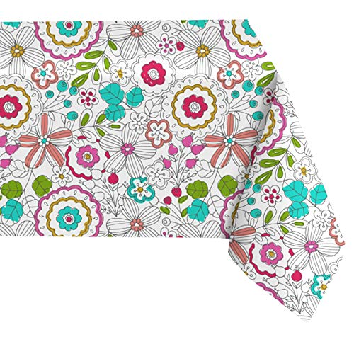 """Newbridge Shabby Chic Lily Print Vinyl Flannel Backed Tablecloth - Bright Bold Summer Lily Pattern Indoor/Outdoor Easy Care Vinyl Tablecloth, 60"""" x 120"""" Oblong/Rectangle"""