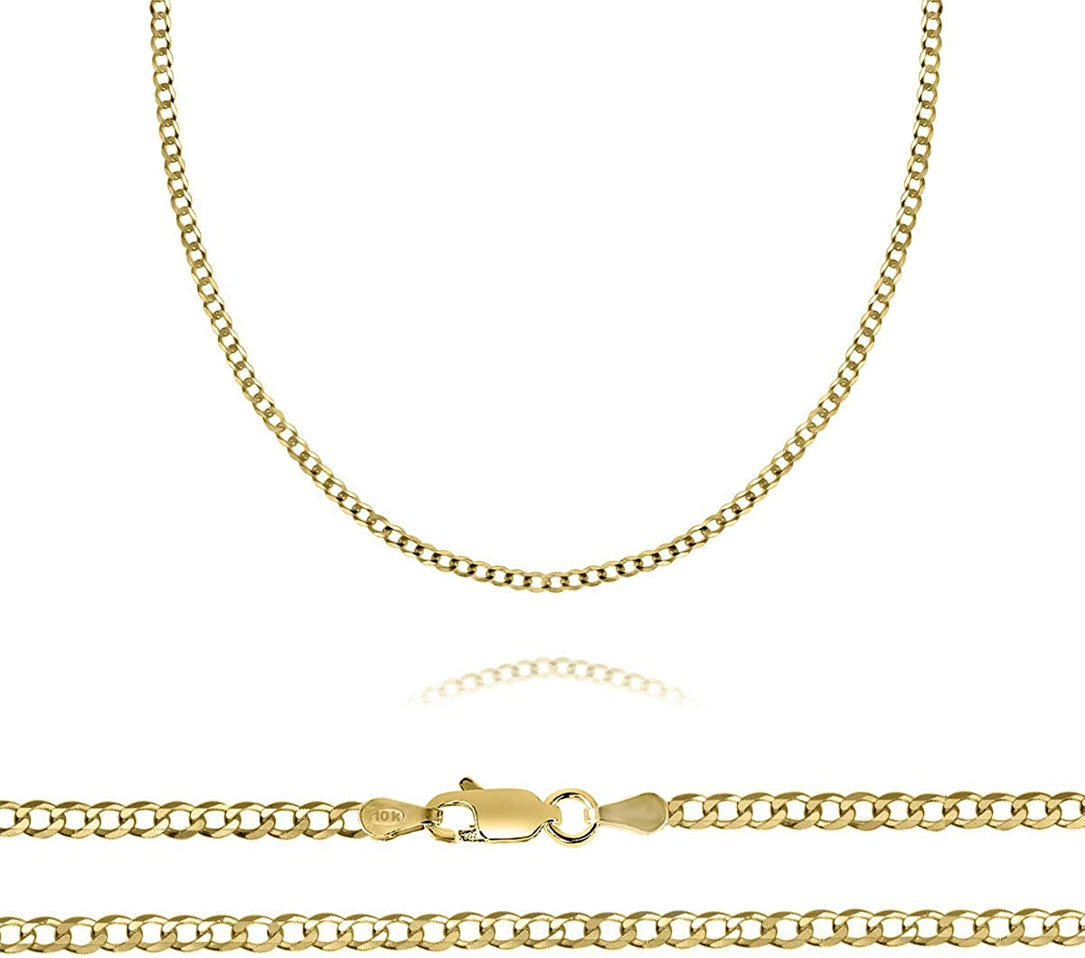10K Yellow Gold 2mm Curb Chain Necklace, 16