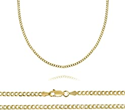Orostar 10K Yellow Gold 2.5mm Curb Chain Necklace, 16