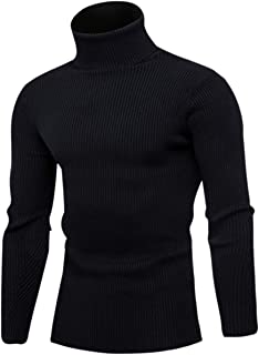 Sponsored Ad - QZH.DUAO Men's Turtleneck Ribbed Knit Slim Fit Pullover Sweater