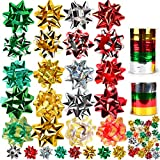 JOYIN 48 Self Adhesive Bows with 8 Rolls of Curling Ribbons for Christmas, Bows, Baskets, ...