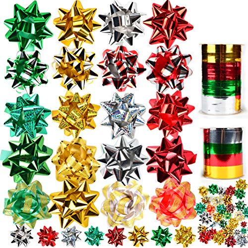 JOYIN 48 Self Adhesive Bows with 8 Rolls of Curling Ribbons for Christmas, Bows, Baskets, Wine Bottles Decoration, Gift Wrapping and Decoration Present