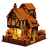 Rylai 3D Puzzles Miniature Dollhouse DIY Kit Flower Town Series Dolls Houses Accessories with Furniture LED Music Box