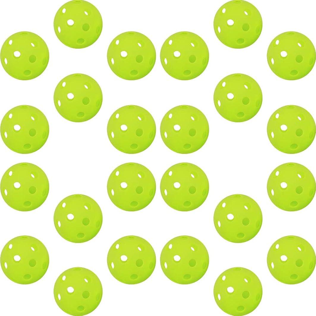 オペレーター非難する保守的GP (ジーピー) 野球 バッティング トレーニングボール 穴あき PE素材 蛍光緑  72mm 【6個/24個/48個】