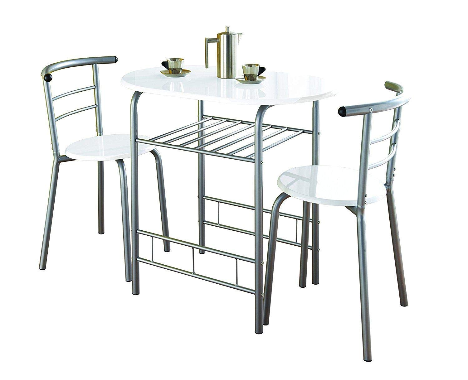 7 Piece White High Gloss Dining Table with 7 Chairs Metal Frame