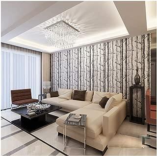 Q QIHANG Modern Minimalist Tree Pattern Non-Woven Wallpaper Roll Black & White Color 0.53m(20.8