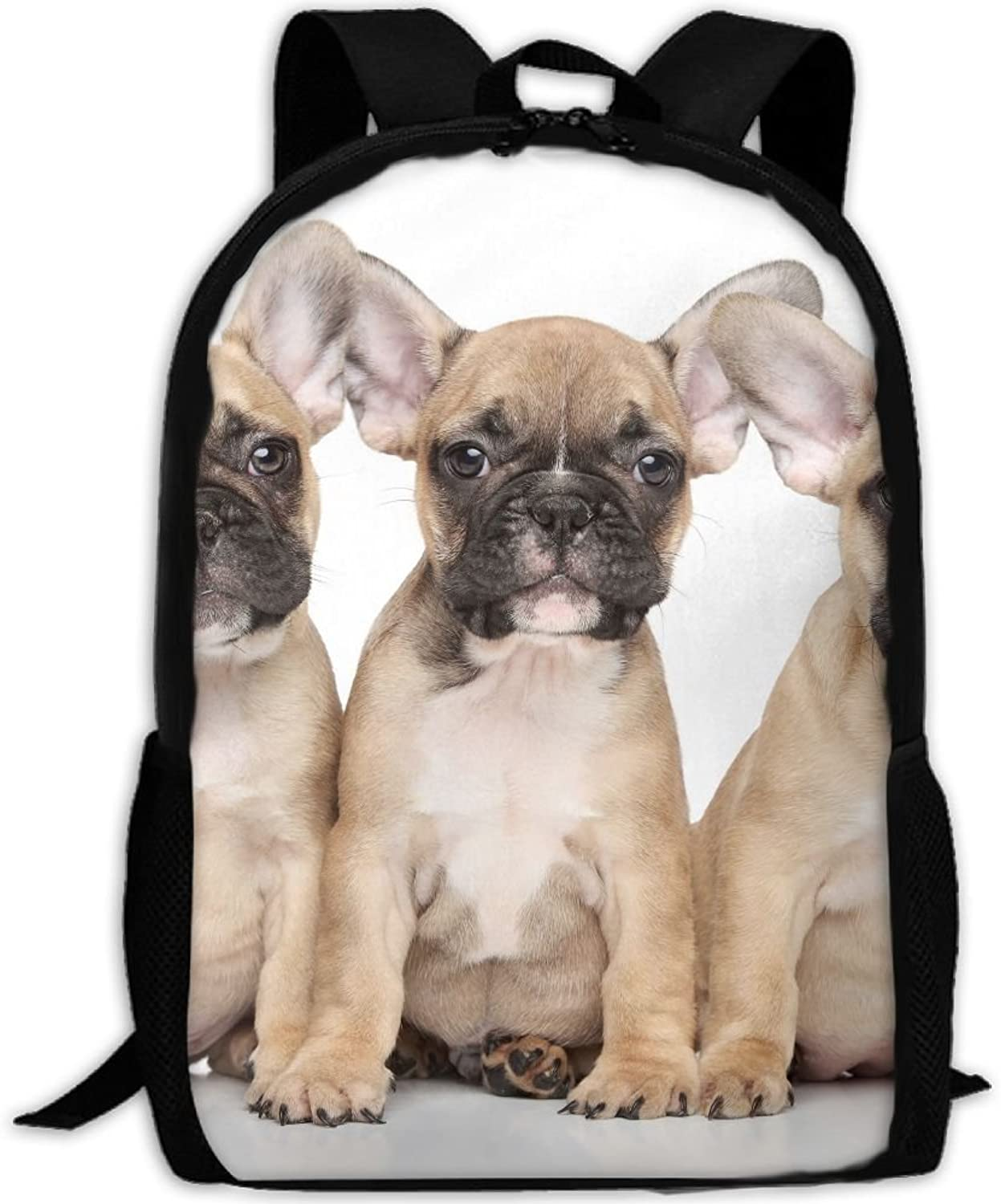 Backpack Laptop Travel Hiking School Bags French Bulldog Puppies Daypack Shoulder Bag