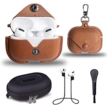 Leather Case for AirPods Pro/3 Gen [LED Visible], KMMIN AirPods Pro Protective Cover Retro, Premium PU-Leather Colorful AirPods Pro Case Accessories Set Wire/Wireless Charging Available (Brown)