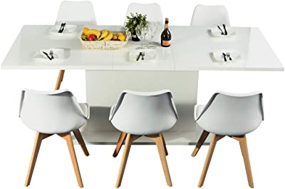 Mesa / comedor de madera extensible de color blanco 160 a 205cm