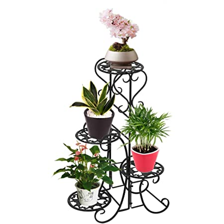 4 Round Metal Flower Shelves Plant Potted Stand Decoration Storage Home D/écor for Indoor Outdoor Garden