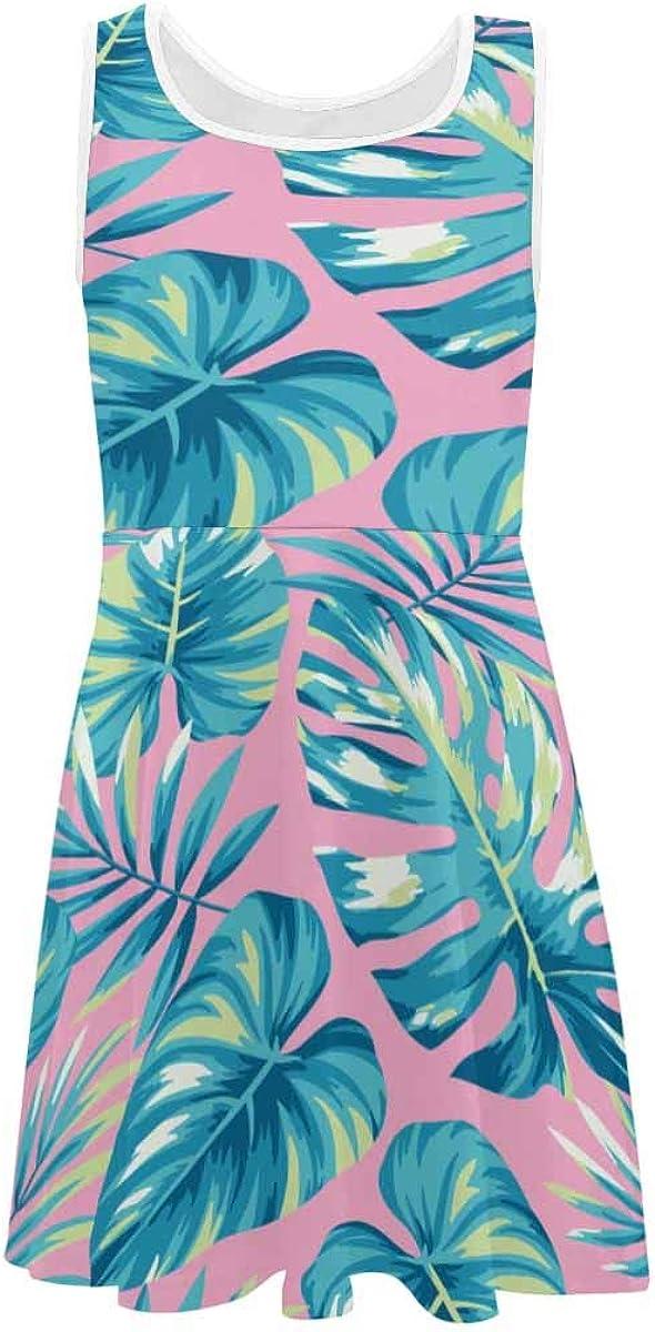 InterestPrint Girls Sleeveless Dress Round Neck Printed Dress Tropical Coconut Palm Leaves (2T-XL)