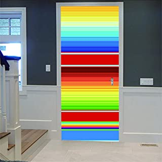 LOVEJJ Stickers de Porte 3D Coloré Déco Murale Qualité HD PVC Douche Bureau Salon Décoration Couloir Peinture Murale DéCor...
