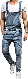 GUOCU Jeans Strappati per Uomo Slim Fit Salopette in Bretelles Pantaloni Tuta in Denim Salopette da Casual Lavoro