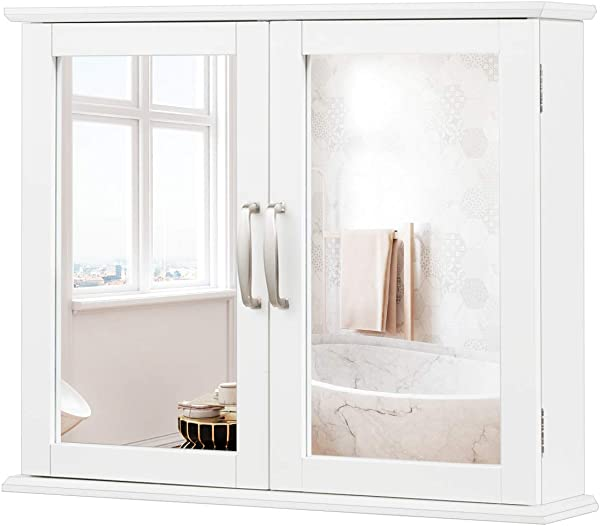 Tangkula Medicine Cabinet Wooden Bathroom Wall Mounted Bathroom Mirror Storage Cabinet With Double Mirror Doors White