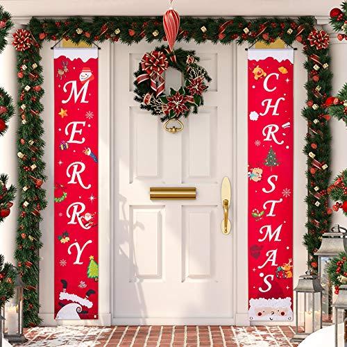 Eaaglo Christmas Decorations,Merry Christmas Banner,Outdoor Christmas Decorations, Christmas Porch Sign - Large Christmas Front Door Decorations Outdoor,Christmas Yard Signs - 71'' x12