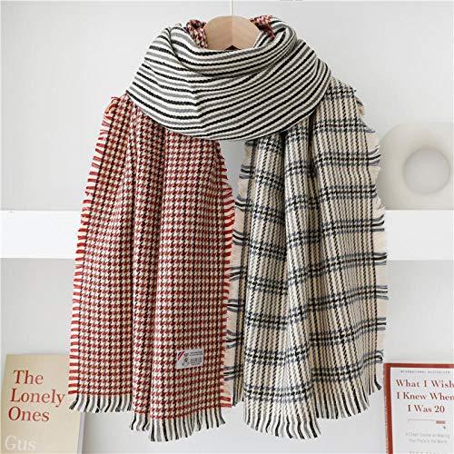 KHWZ Warme Pashminas Winterfarben passende Hahnentritt + gestreifte warme Schal Schal Dual-Use-Damen-Burgund + Kastanie