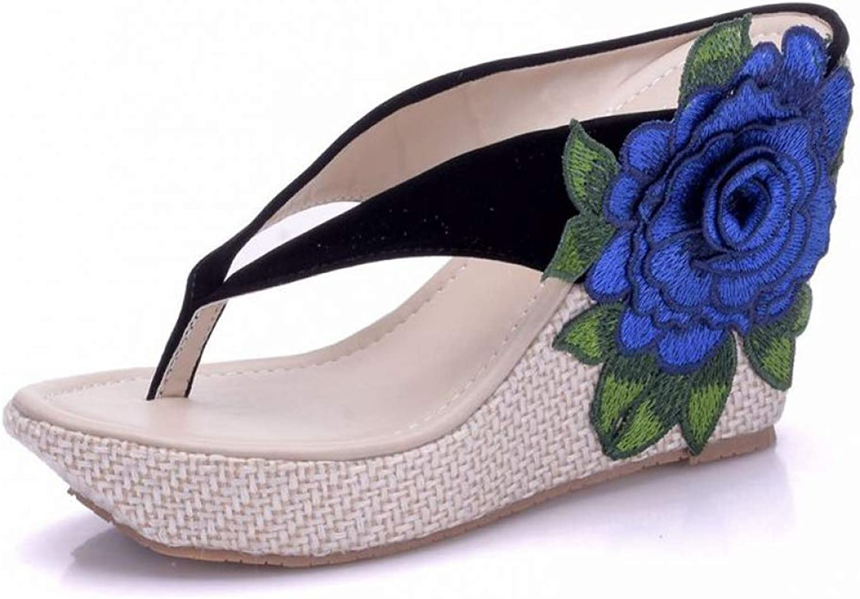 Btrada kvinnor Crystal Flip Flip Flip Flops Sandals Wedges sommar skor Elegant Flower Platform High klackar Slippers  rabatt på nätet