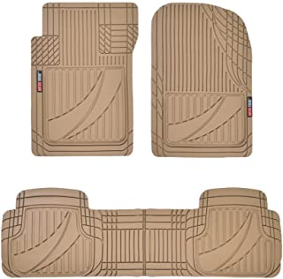 Motor Trend OF-793-BG Beige FlexTough Advanced Performance Rubber Floor Mats for Car SUV Auto Truck, 3pc Front & Rear Liner Set, All Weather Plus Protection