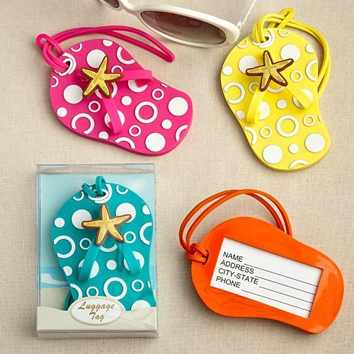 Beach Themed Flip Flop Luggage Tags (Yellow)