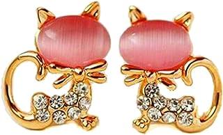 acool Simple Animal Studs Earrings 925 Needles Cat Cat's Eye Earrings for Women Fashion Jewelry (Pink)