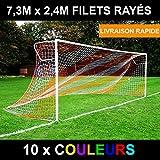 Filet de But Rayé/Deux Couleurs pour Buts de Football de 7,3m x 2,4m (Variété de Couleurs) (Noir/Rouge, Individuel)