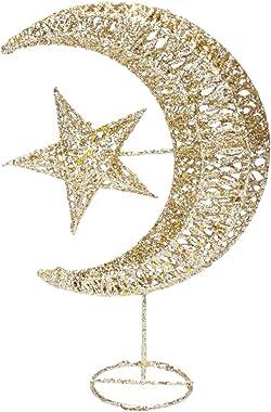 Mobestech Cimier de sapin de Noël scintillant en forme de lune et d'étoile en fer forgé 20 cm pour centre commercial ou m