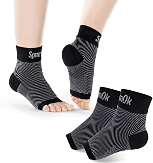SpemOk Plantar Fasciitis Socks 2 Pairs - Ankle Brace Compression Support Foot Sleeves for Planter Fasciitis, Arch Support, Pain Relief - Open Toe (Black, Medium)