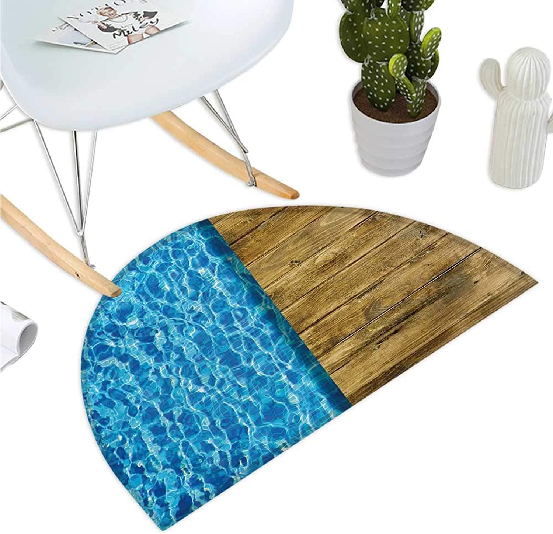 Aqua Semicircular Cushion Summer House Seem Swimming Pool with Wooden Seem Deck Image Bathroom Mat H 43.3  xD 64.9  Dark bluee White and Caramel Brown