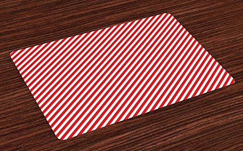 Colchonetas en forma de bastones de caramelo, lineas diagonales, festivo, celebracion navidena, tema geometrico, arreglos de tela lavables para el comedor, decoracion de mesa de cocina, juego de 6