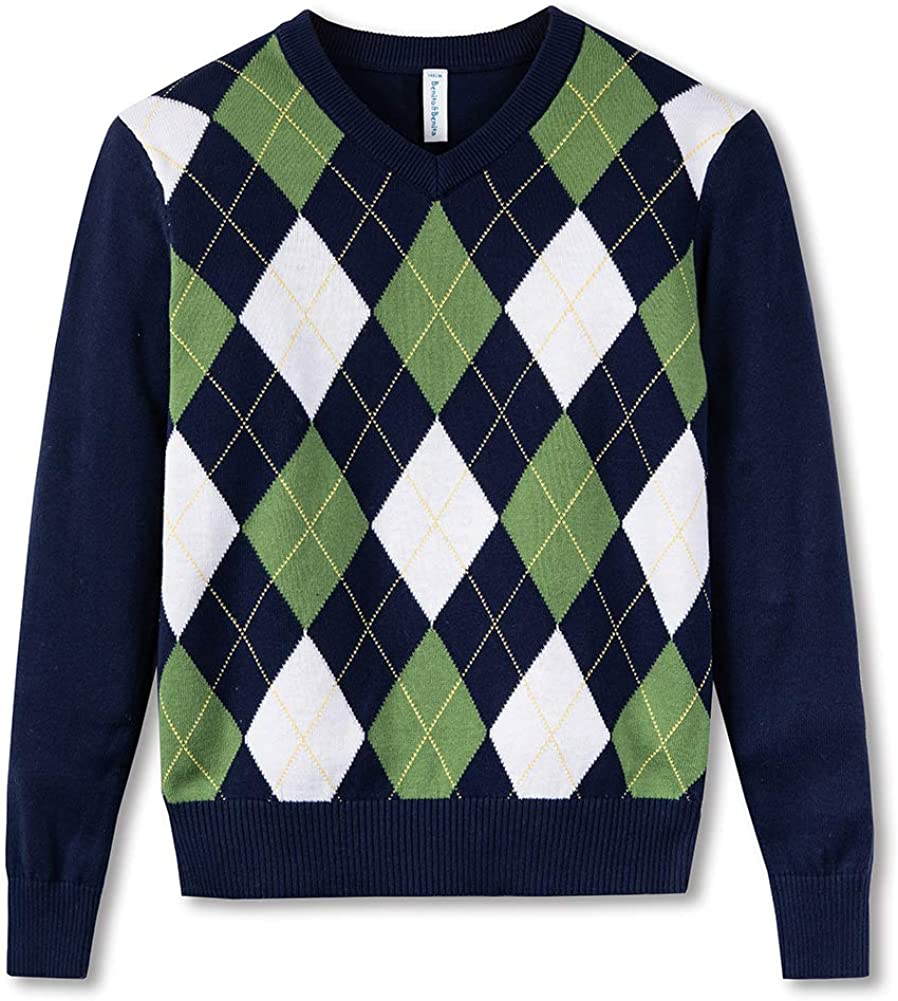 BOBOYOYO Boys Sweater Pullover, Argyly Sweater for Boys, 100% Cotton Cable Knit Sweater for Size 3-12Y: Clothing